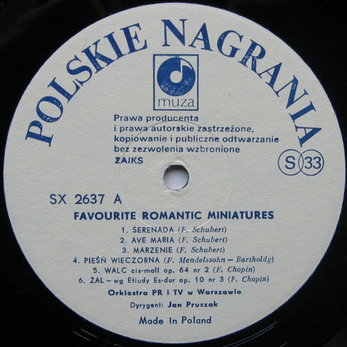 Orkiestra PR I TV W Warszawie, Jan Pruszak – Favourite Romantic Miniatures - Ulubione romantyczne miniatury