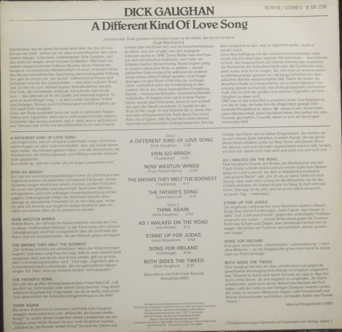 Dick Gaughan – A Different Kind Of Love Song